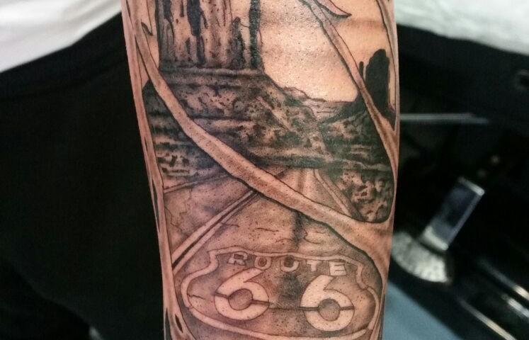 tatuaje ruta 66-tatuajesl'eliana-jorge garcía