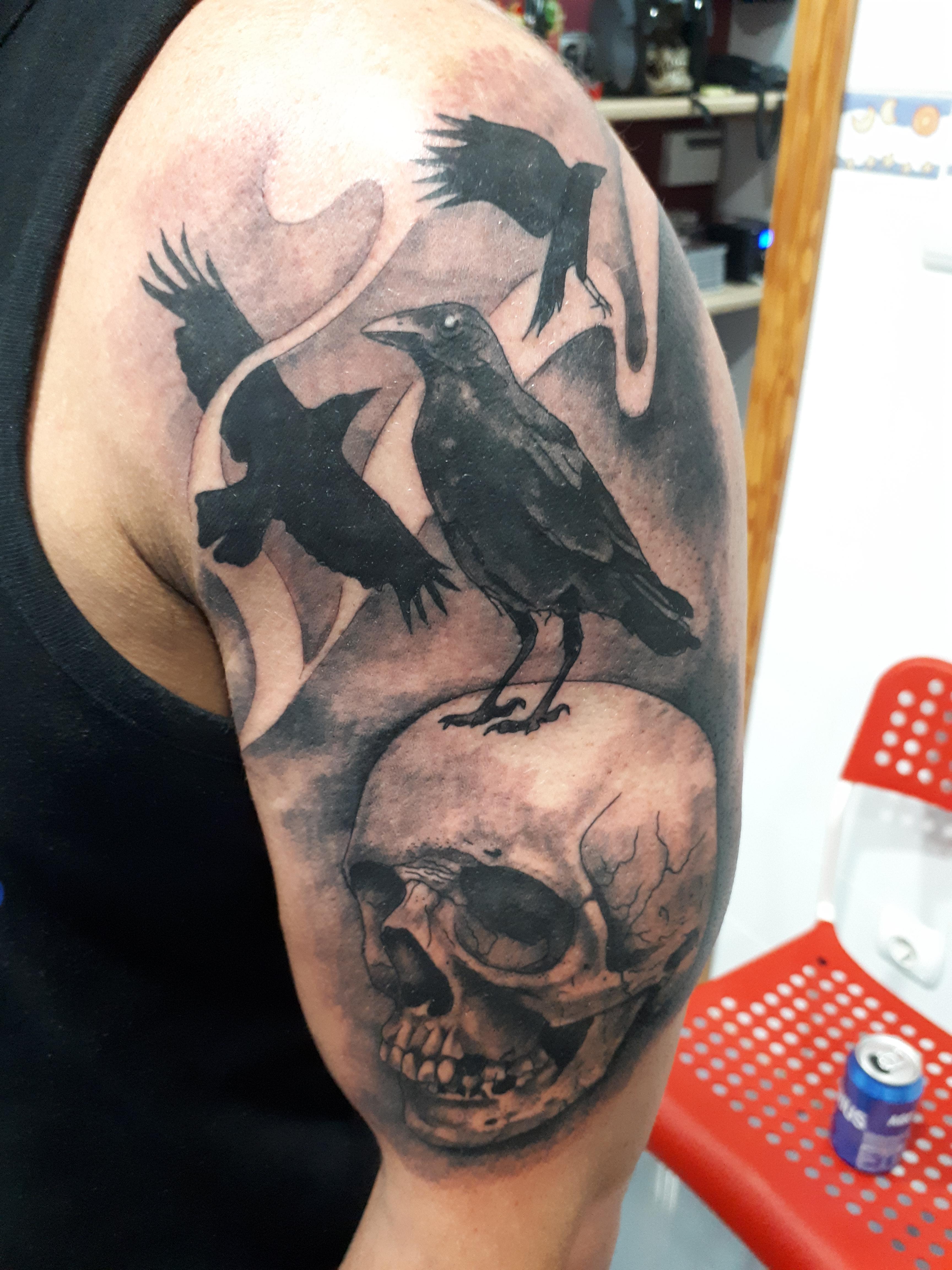 Tattoo cuervo#Tattoocalavera#Jorge García#Jorge Terrorize#Tatuajes L'Eliana#